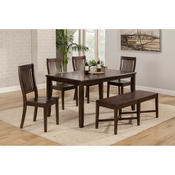 Leonardo Acacia Wood 6 Piece Dining Set by Alcott Hill