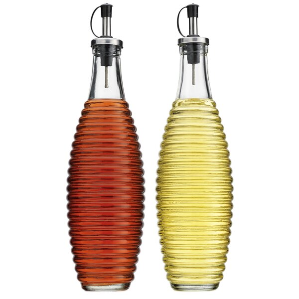 Ribbed 20 Oz. Oil and Vinegar Cruet (Set of 2) by Wrought Studio