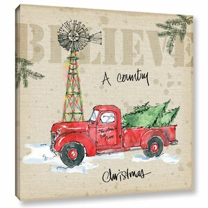 Country Christmas Painting Print on Wrapped Canvas by Laurel Foundry Modern Farmhouse