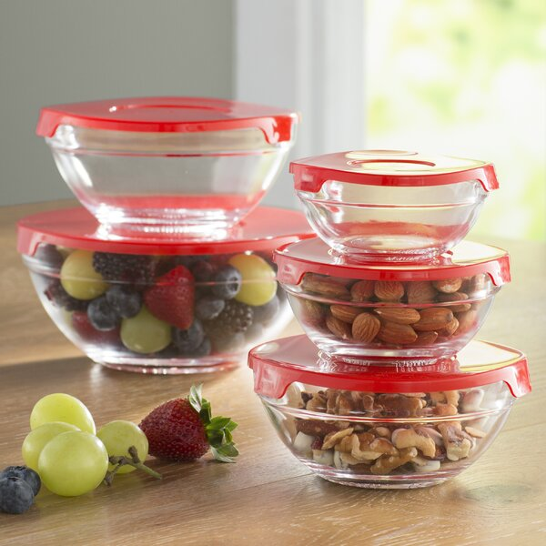 Wayfair Basics Glass 5 Container Food Storage Set by Wayfair Basics™