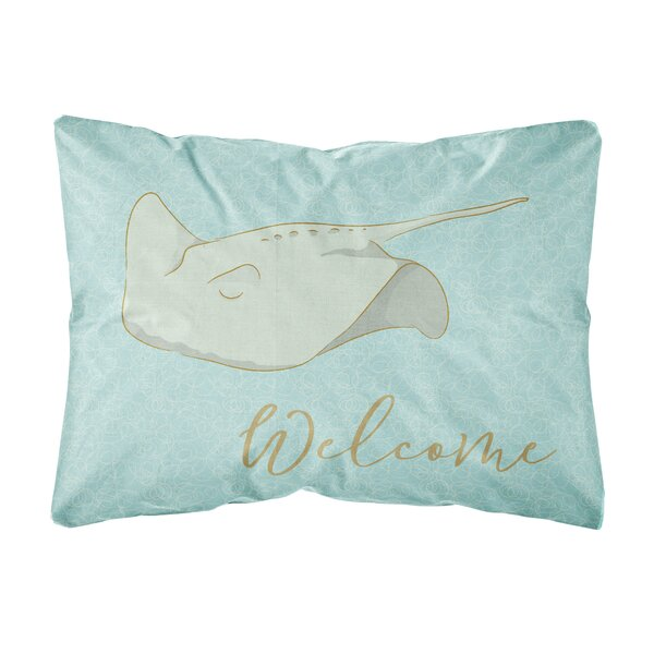 Katniss Sting Ray Welcome Indoor/Outdoor Throw Pillow by Highland Dunes