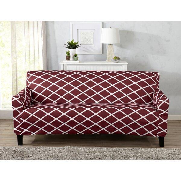 Form Fitting Stretch Diamond Printed Box Cushion Sofa Slipcover by Winston Porter