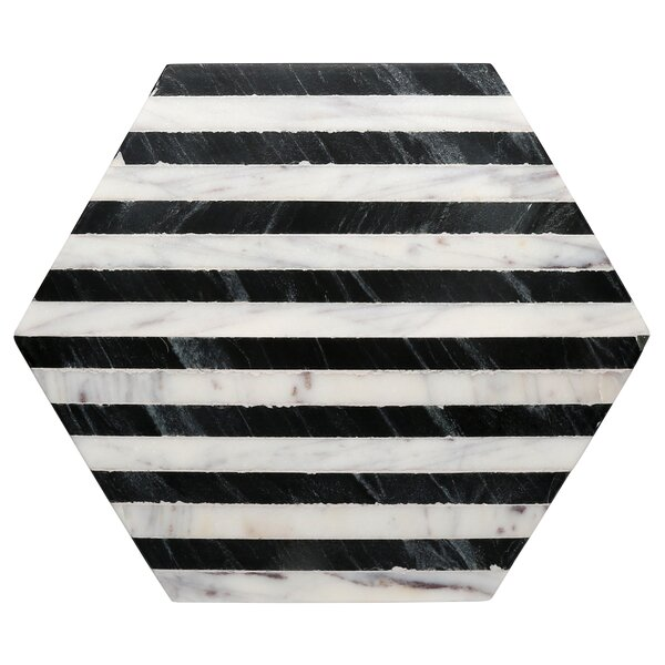 Old Hollywood Striped Marble Hexagon Trivet by Thirstystone