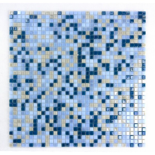 Galaxy Straight 0.31 x 0.31 Glass Mosaic Tile in Blue/Beige by Abolos