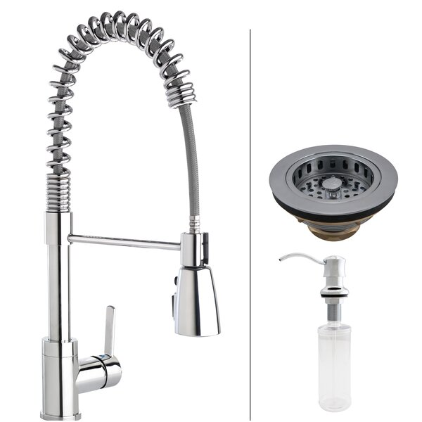 Essentials Commercial Style Pull Down Single Handle Kitchen Faucet with Strainer and Soap Dispenser by Keeney Manufacturing Company
