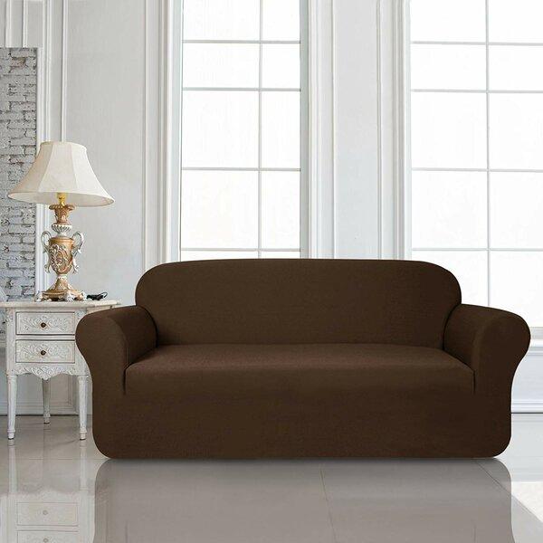 Knit Jacquard Box Cushion Sofa Slipcover by Red Barrel Studio