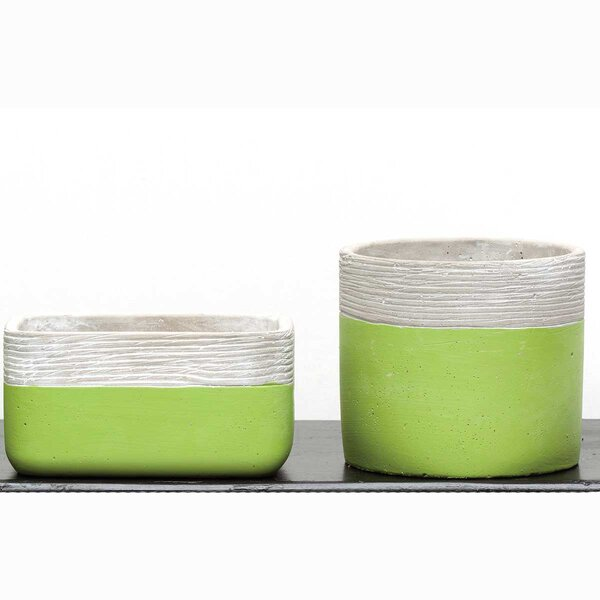 Ethelinde Concrete Etched Rimm 2-Piece Pot Planter Set by Highland Dunes