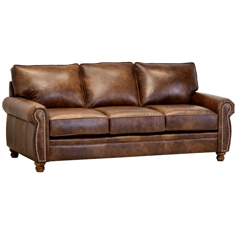 Alborghus Brown Top Grain Leather Sofa