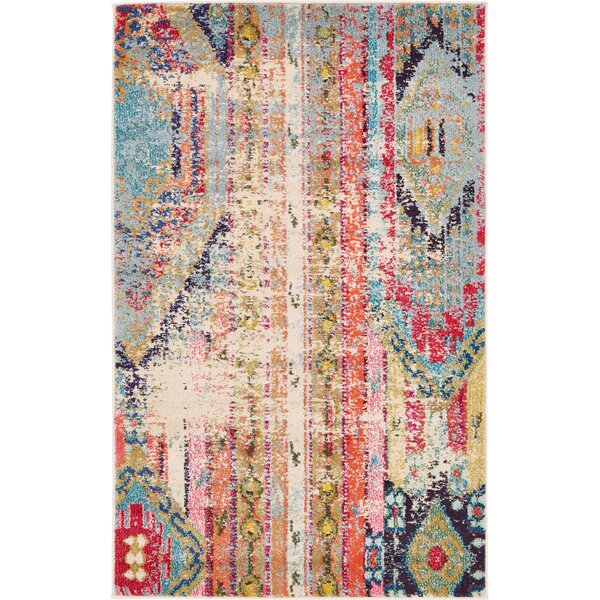 Newburyport Beige/Orange Area Rug by Mistana