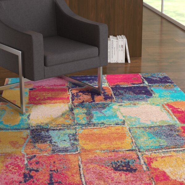 Asdsit Pink/Blue Area Rug by Ebern Designs