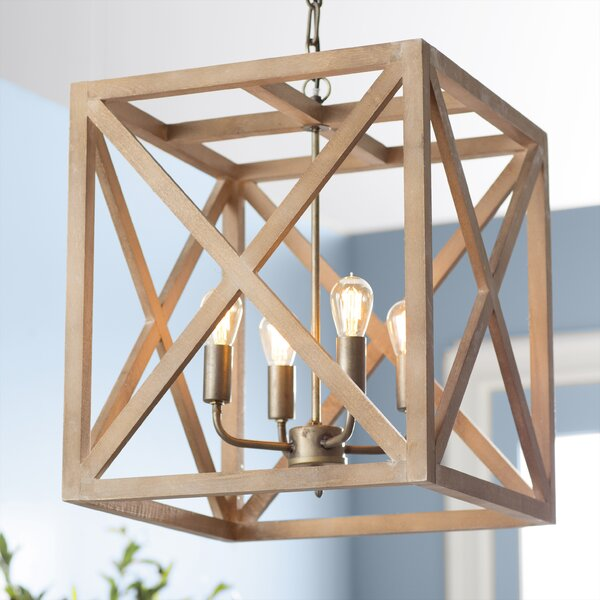 William 4-Light Square/Rectangle Chandelier by Lau