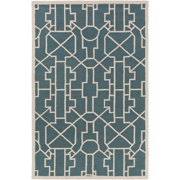 Salamanca Hand-Crafted Teal Area Rug by Mercer41