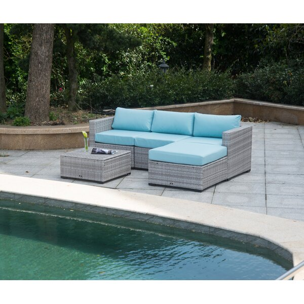 Mooney Outdoor 5 Piece Rattan Sectional Seating Group with Cushions by Rosecliff Heights
