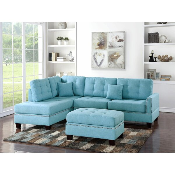Valuable Quality Eggert Reversible Sectional with Ottoman by Red Barrel Studio by Red Barrel Studio