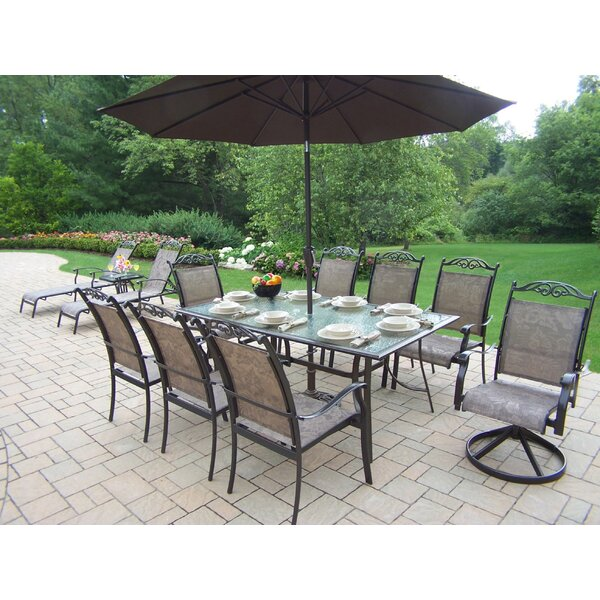 Basile Aluminum Framed 9 Piece Dining Set with Umbrella by August Grove