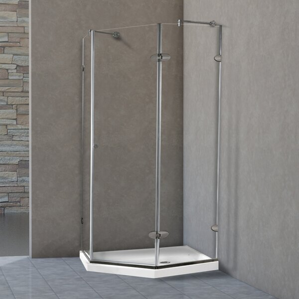 Verona 42 x 76.25 Neo-Angle Hinged Shower Enclosure with Low-Profile Base by VIGO