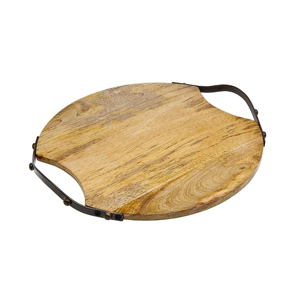 Wood Round Cutting Board with Handle by Godinger Silver Art Co