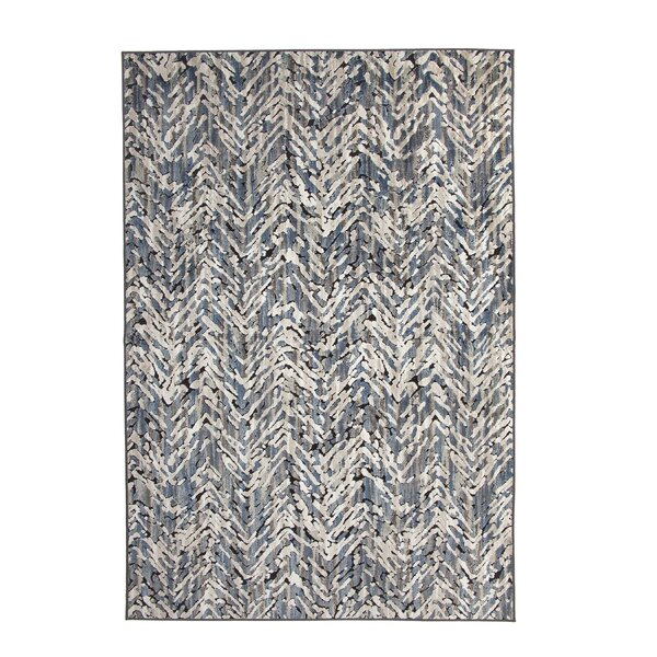 Teague Machine Woven Synthetic/Chenille Blue/Natural Area Rug by Brayden Studio