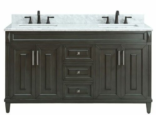 Potvin Marble Top 61 Double Bathroom Vanity Set by Gracie Oaks