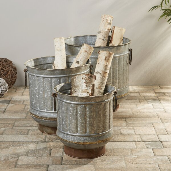 3-Piece Griffin Galvanized Pot Planter Set by Birch Lane™