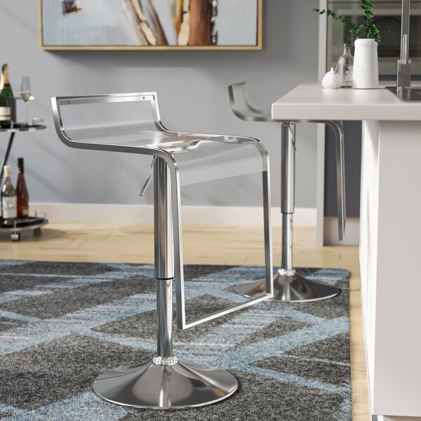 Klingbeil Adjustable Height Swivel Bar Stool by Wade Logan