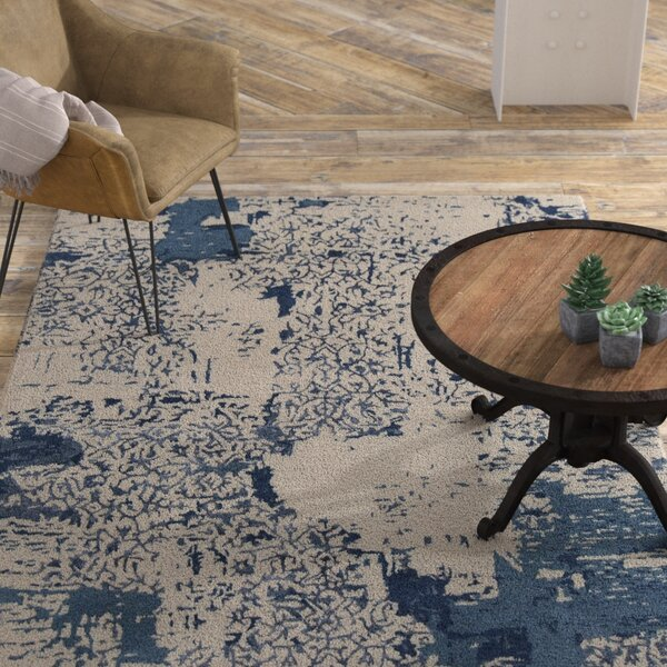 Powell Patterned Contemporary Beige/Blue Area Rug by 17 Stories