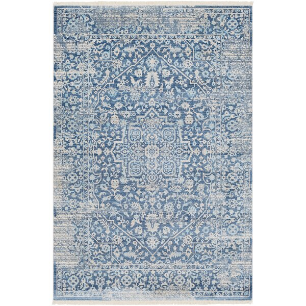 Mendelsohn Vintage Persian Traditional Blue Area Rug by Three Posts