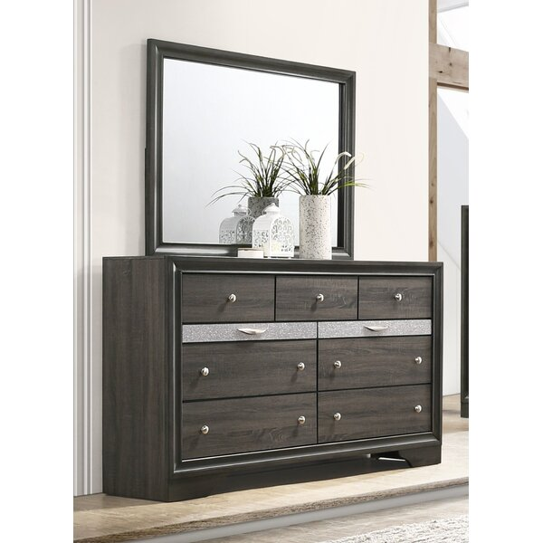 Mooneyhan Beveled Edge 9 Drawer Double Dresser with Mirror by Union Rustic
