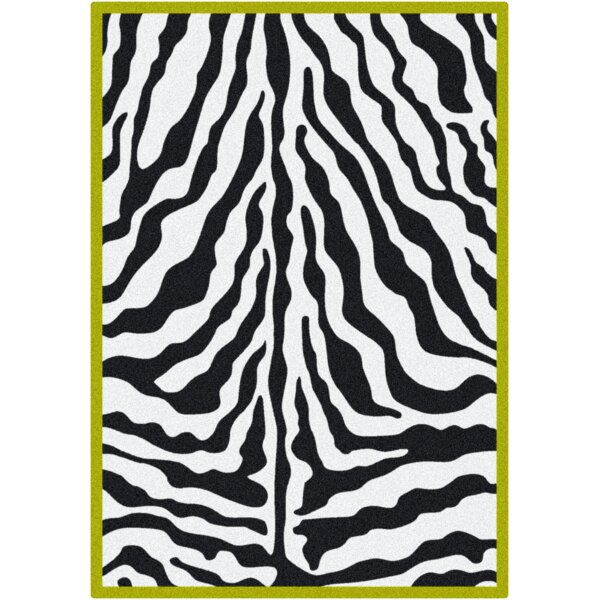Zebra Glam Citrus Black/White Area Rug by Milliken