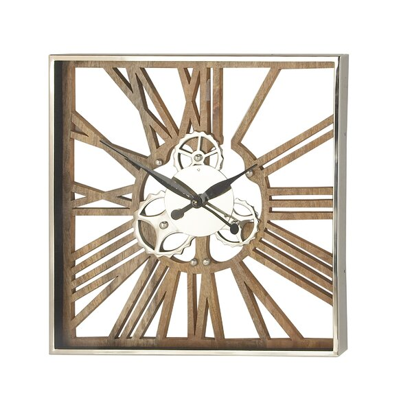 Kwiatkowski Industrial Square Gear Wall Clock by Williston Forge