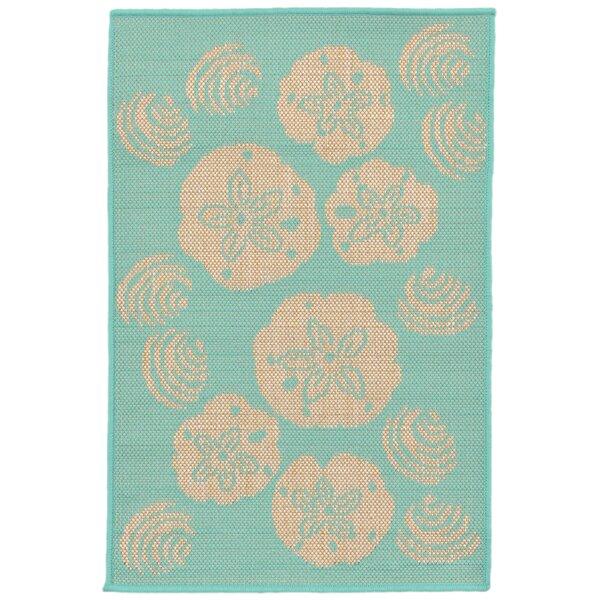 Clatterbuck Shell Toss Blue/Beige Indoor/Outdoor Area Rug by Highland Dunes