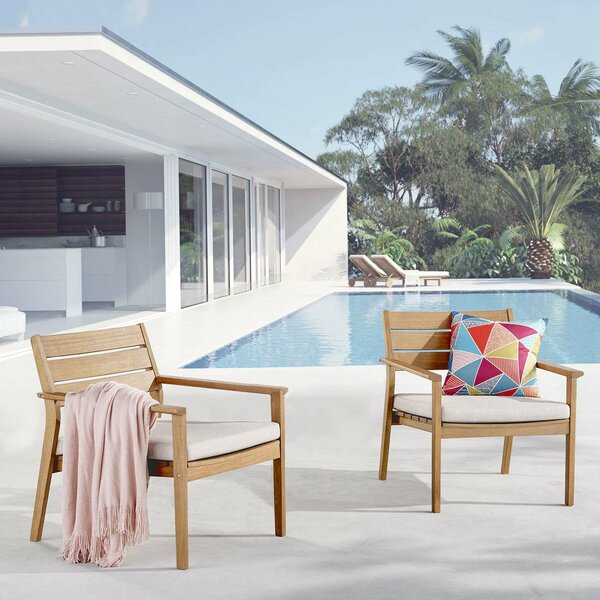 Emrys Patio Dining Chair with Cushion (Set of 2) by Rosecliff Heights