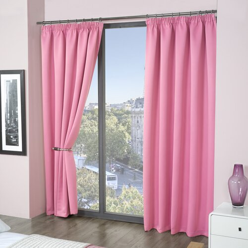 Pencil Pleat Blackout Thermal Curtains Marlow Home Co. Size per Panel: 114 W x 137 D cm, Colour: Pink