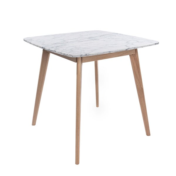 Huldah 39-inch Square Italian Carrara White Marble Dining Table By Ivy Bronx
