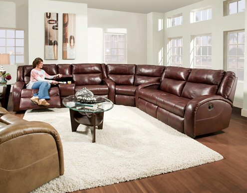 Maverick Leather Reversible Reclining Sectional by Southern Motion