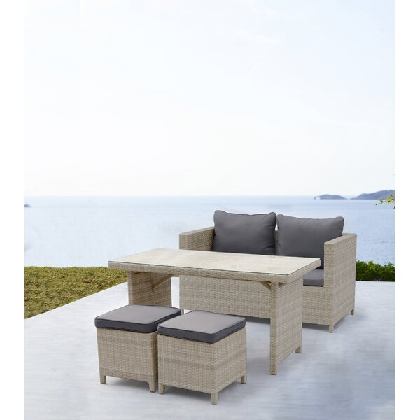 Akira Outdoor 4 Piece Rattan Sofa Seating Group with Cushions by Latitude Run
