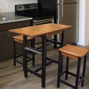 Jeanetta 3 Piece Table Stool Kitchen Island Set