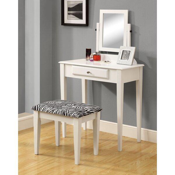 Vanity Set with Mirror & Zebra Print Stool by Monarch Specialties Inc.