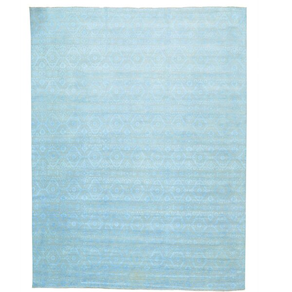 Ikat Tone on Tone Hand-Knotted Silk Beige Area Rug by Bloomsbury Market