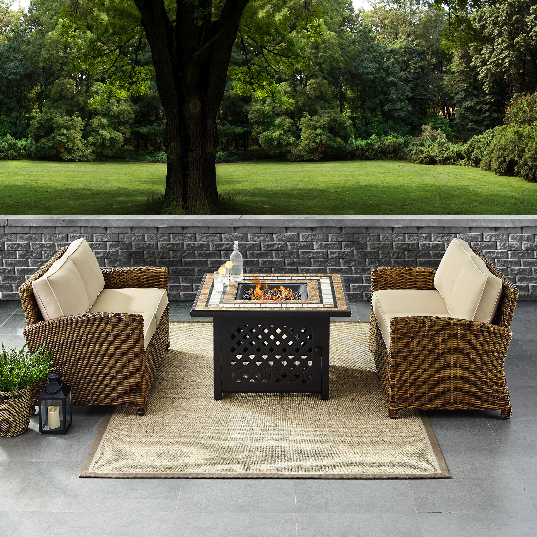 Birch Lane Lawson 3 Piece Rattan Sofa Seating Group With Cushions Reviews Wayfair