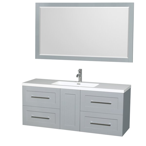 Olivia 60 Single Dove Gray Bathroom Vanity Set with Mirror by Wyndham Collection
