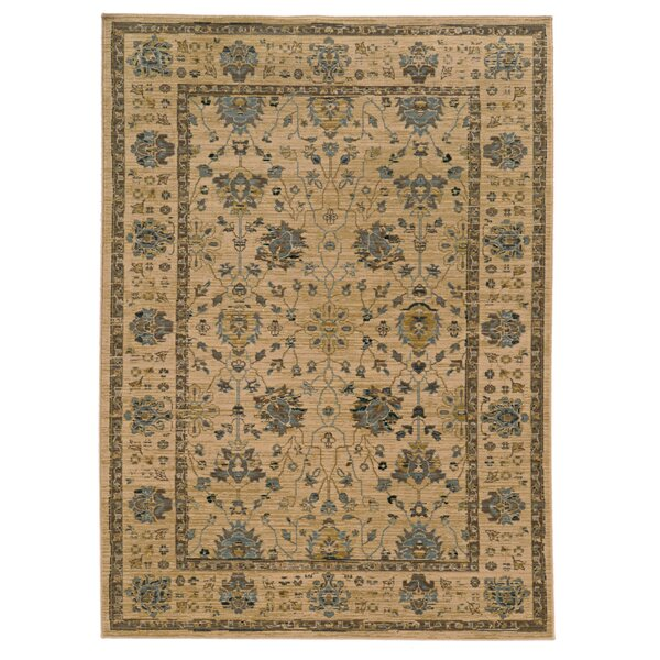 Vintage Oriental Handmade Wool Beige/Blue/Brown Area Rug
