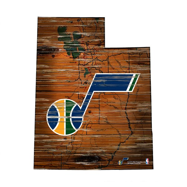 NBA Jazz Distressed State Wall Décor by Fan Creations