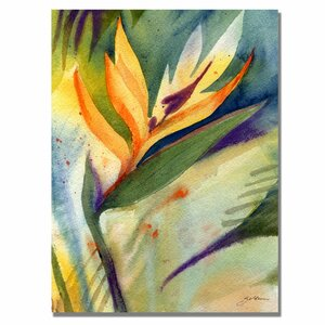 'Bird of Paradise' by Sheila Golden Painting Print on Canvas by Trademark Fine Art