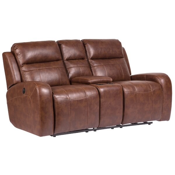 Shoping Peres Leather Home Theater Loveseat