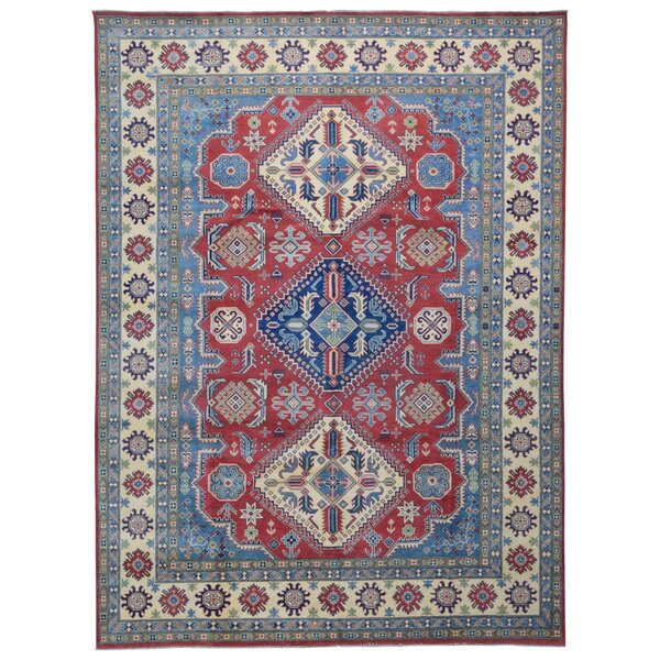One-of-a-Kind Flaxt Oriental Hand-Knotted Red/Blue Area Rug by Isabelline