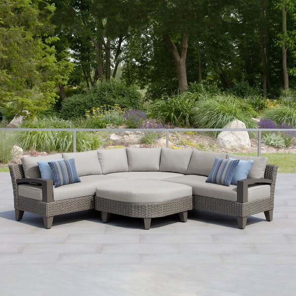 Oakland Patio 5 Piece Rattan Sectional Seating Group with Cushions by Martha Stewart