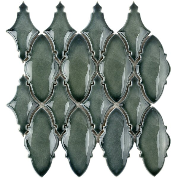 Oracle Valor Random Sized Ceramic Mosaic Tile in Deep Emerald by Splashback Tile