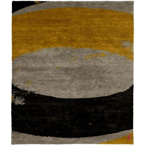 One-of-a-Kind Walmsley Hand-Knotted Tibetan Brown/Orange/Black 8' Square Wool Area Rug