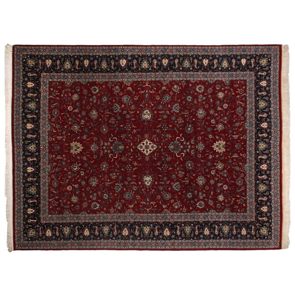 One-of-a-Kind Super Fine Hand-Woven Wool Red/Navy Area Rug by Exquisite Rugs